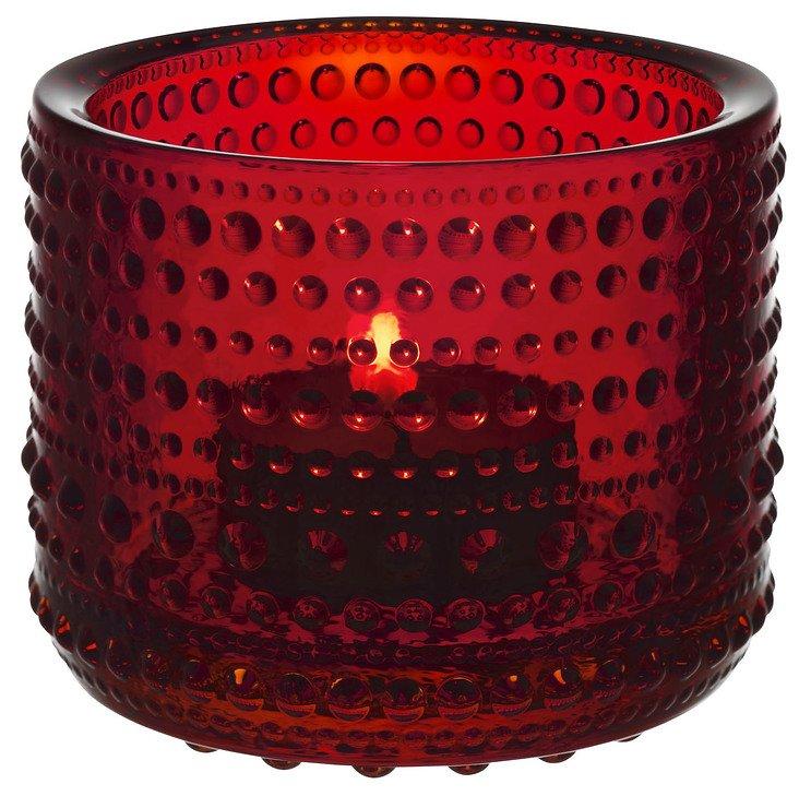 Iittala Teelichthalter Kastehelmi 6,4cm Glas rot