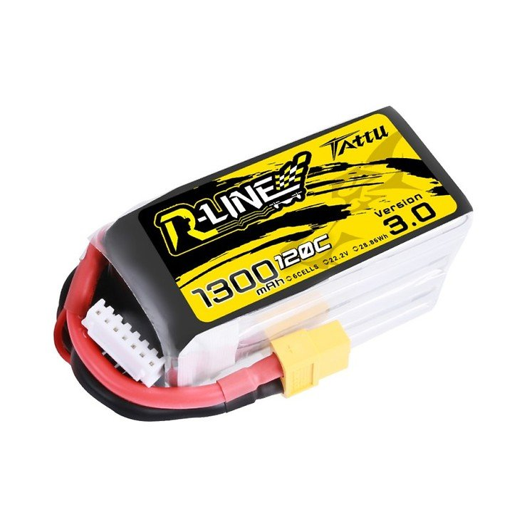 Tattu R-Line V3 LiPo 1300mAh 6S1P 120C 22.2V Akku Batterie mit XT60 Stecker - Pic 1